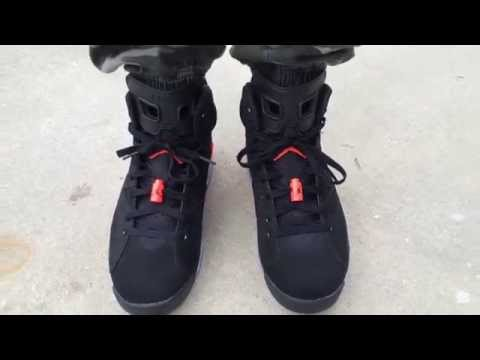 how to lace air jordan 6 black infrared on feet