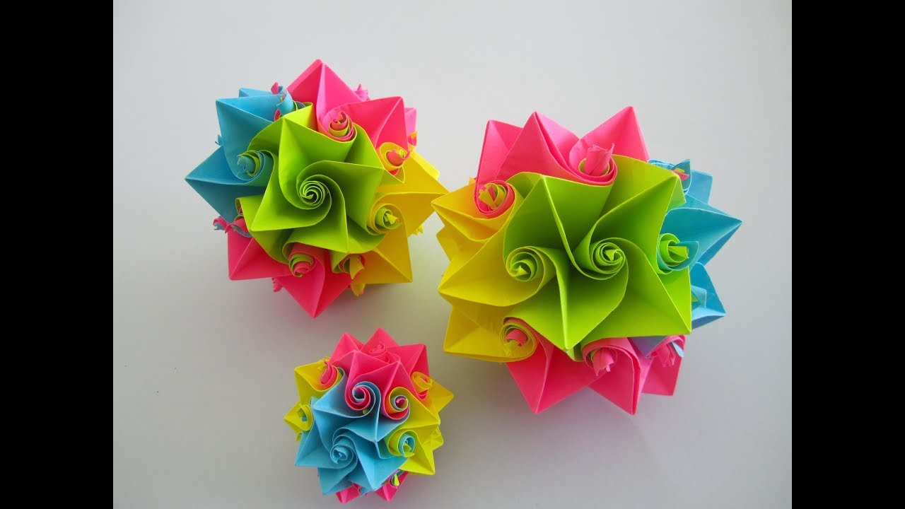 Flower Ball Made Of Paper Bltenball Aus Papier Origami Youtube