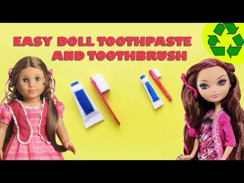 How to make a DOLL TOOTHBRUSH AND TOOTHPASTE - Easy Doll Crafts - simplekidscrafts