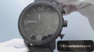 Men's Fossil Nate Chronograph Blackout Watch JR1401