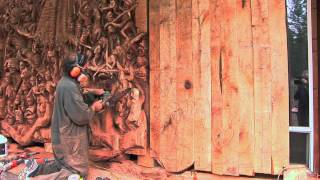 J. Chester Armstrong Collaborates With Dodd Mitchell For Chainsaw Sculpture At Aria's Javier's.