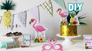 Festa de aniversario Flamingo Tropical - DIY bolo e painel e +