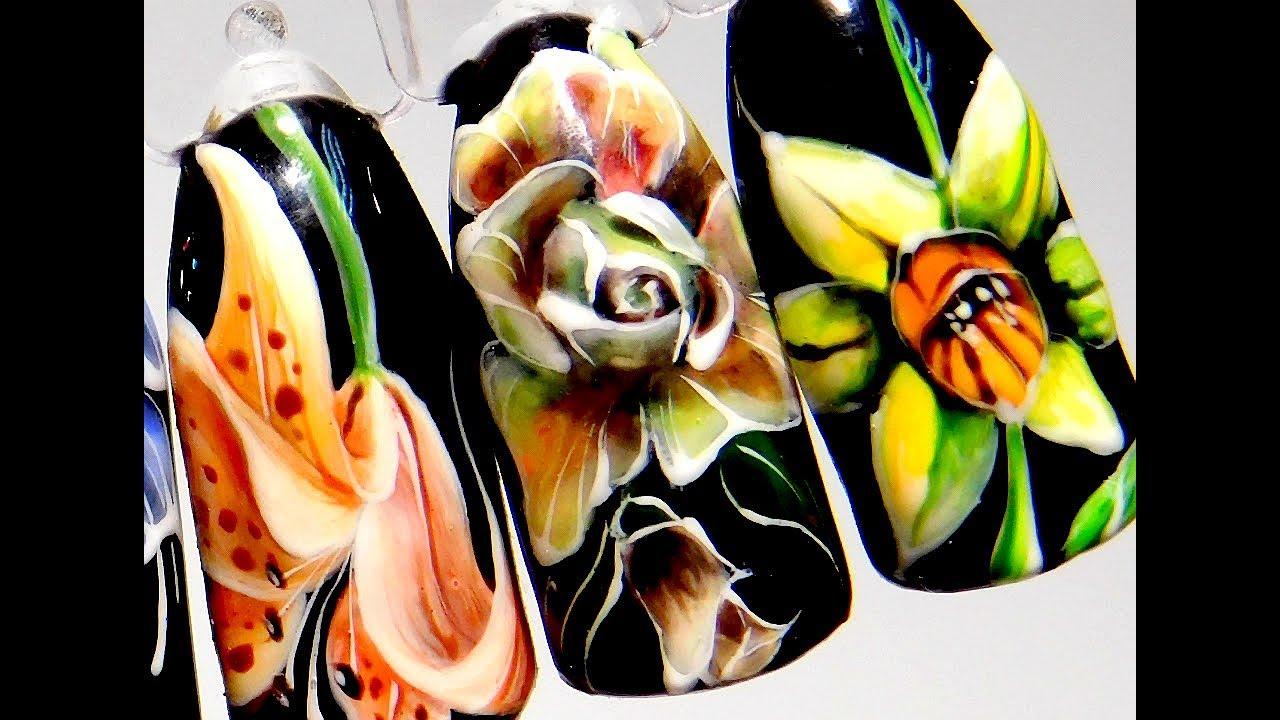 Супер Дизайн ногтей гель лаком цветок роза. Учимся рисовать этот простой и модный маникюр 2019 цветы для девушек дизайн