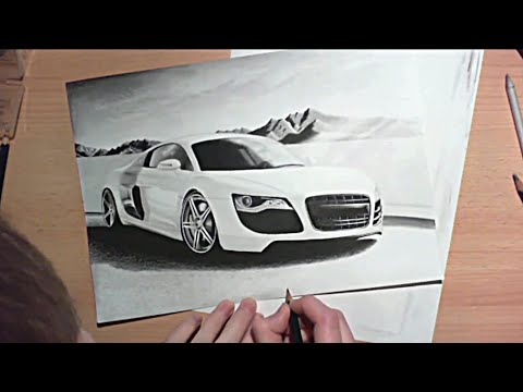 Audi R8 Speed Drawing realistic pencil car drawing tutorial Zeichnung - YouTube