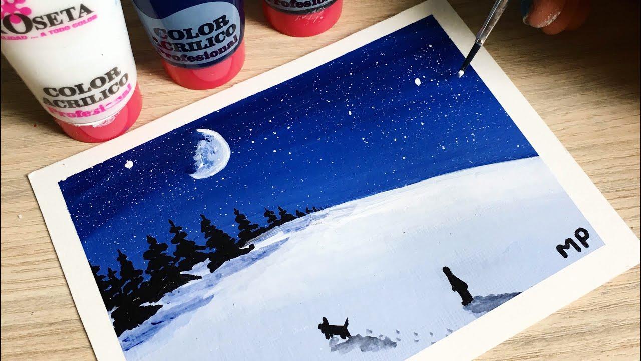 Dibujo con solo 3 colores blanco negro y azul para principiantes youtube - Blanco y negro paint ...