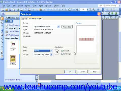 Publisher 2003 tutorial adjusting page and print setup options publisher 2003 tutorial adjusting page and print setup options microsoft training lesson 25 reheart Images