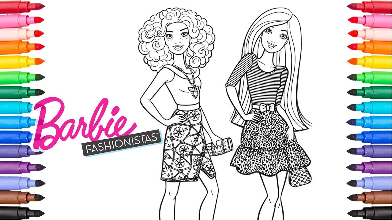 Coloring Barbie and Friend Fashionista | Barbie Coloring Pages