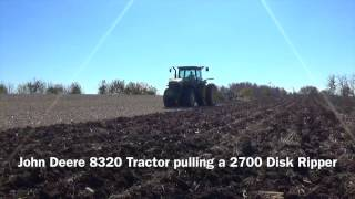 John Deere 8320 Tractor pulling a 2700 Disk Ripper near Arcanum Ohio