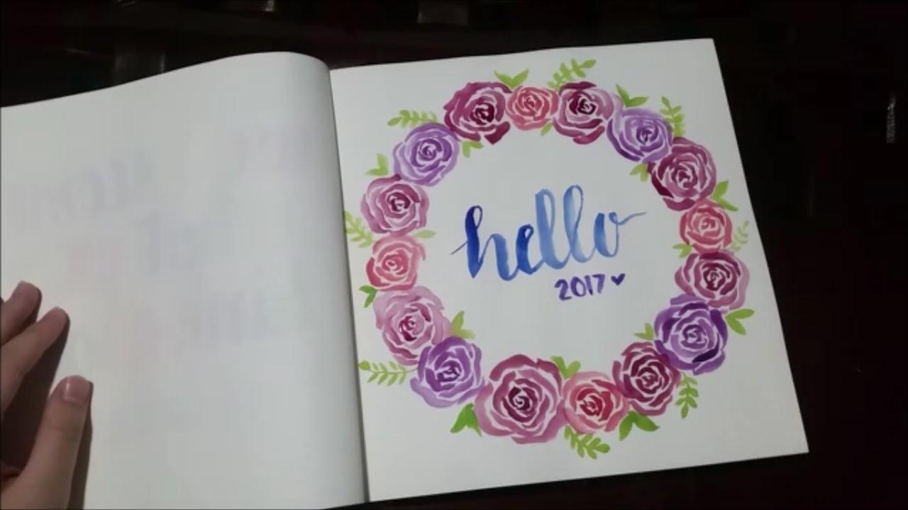Hello rose wreath watercolor calligraphy youtube