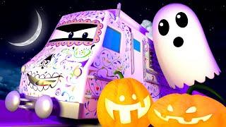 Поезд Трой -  ПАРАД в честь Хэллоуина в Железнодорожном Городе - детский мультфильм