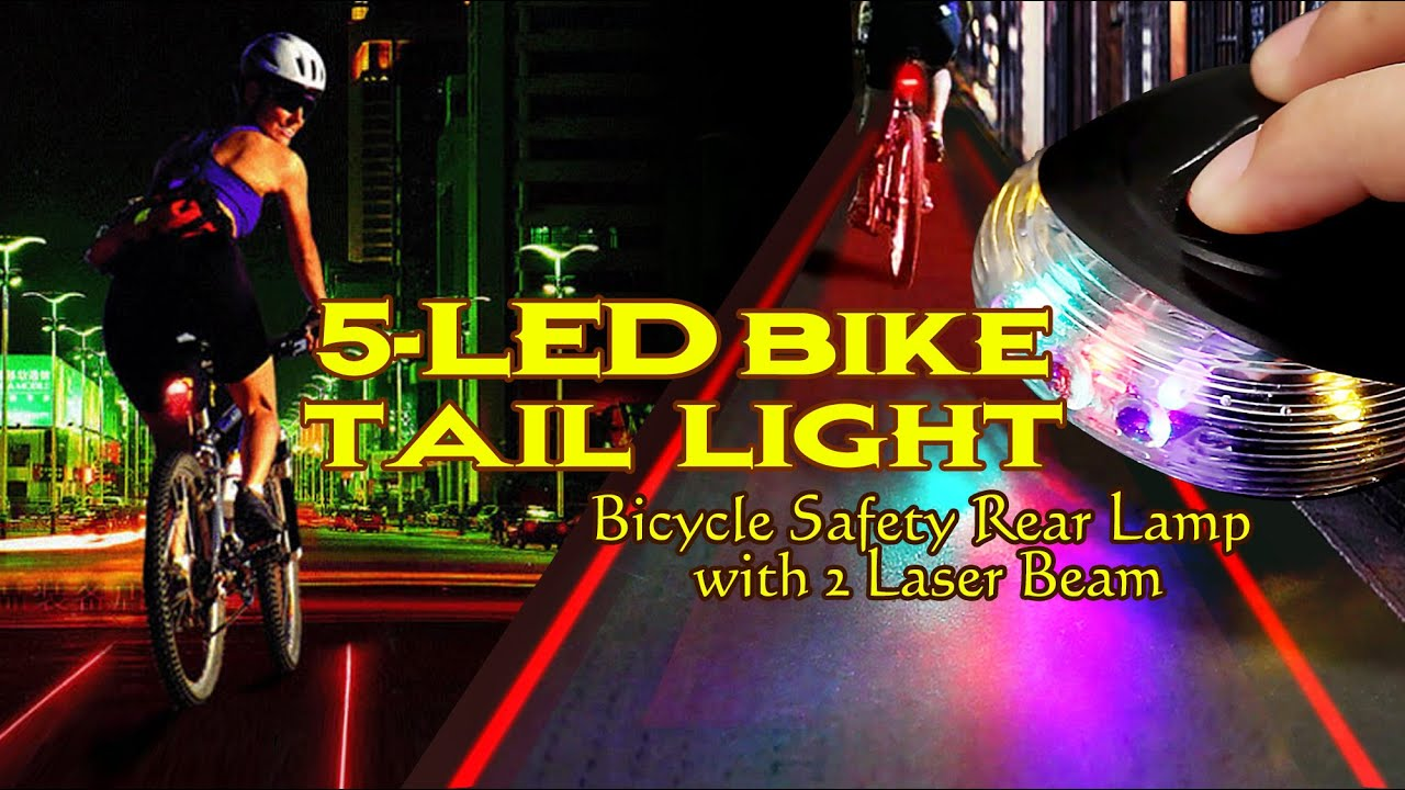 LED Tail Light Safety Lamp Cycling Rear Laser Taillights 5LED 2Laser Bicycle