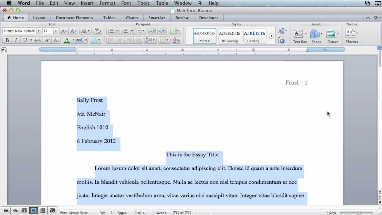 mla formatting microsoft word 2011 mac os x