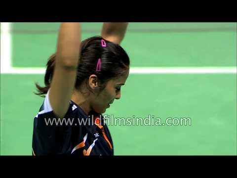 Audience cheer and clap after Saina's Commonwealth Games victory