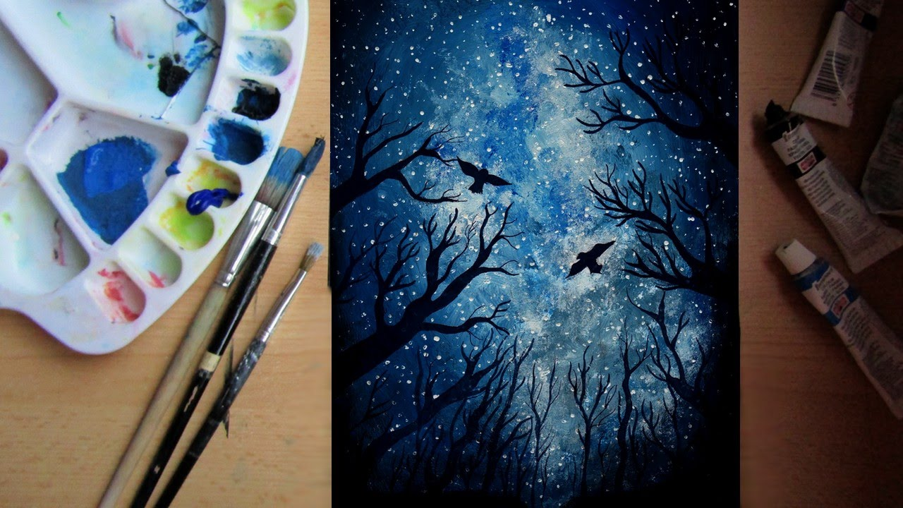 How To Paint A Night Sky Speed Painting Youtube