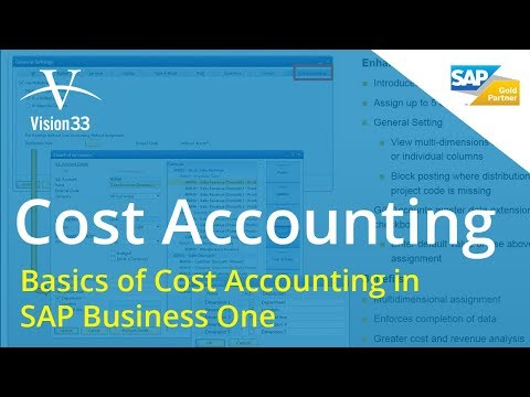 Basics of Cost Accounting in SAP Business One July 2 2014