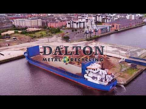Drone footage, Liebherr 934 & LH40 loading ship with scrap metal at Leith docks Edinburgh, VisionUAV