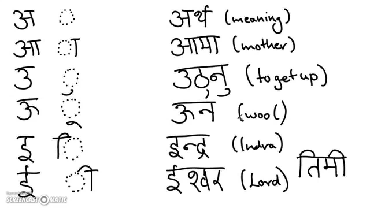 Learn Nepali Online Script Pronunciation Vowels Part