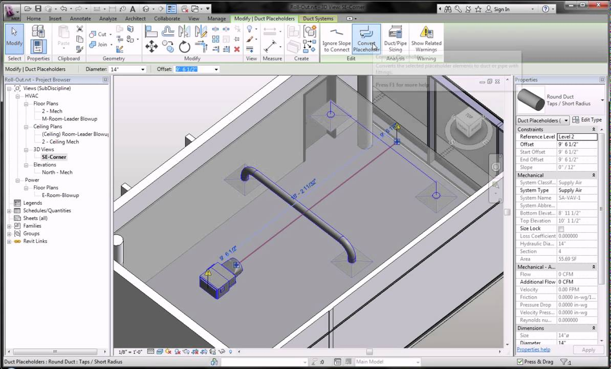 Revit MEP 2012 -- Placeholder Pipes and Ducts and Parallel Pipes and  Conduits