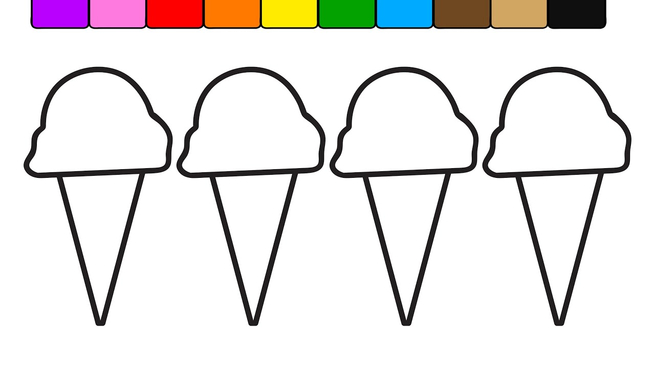 learn colors for kids with this new ice cream pattern coloring