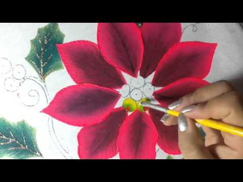 Pintura en tela nochebuena rosa 2 con cony youtube - Pintura en tela motivos navidenos ...