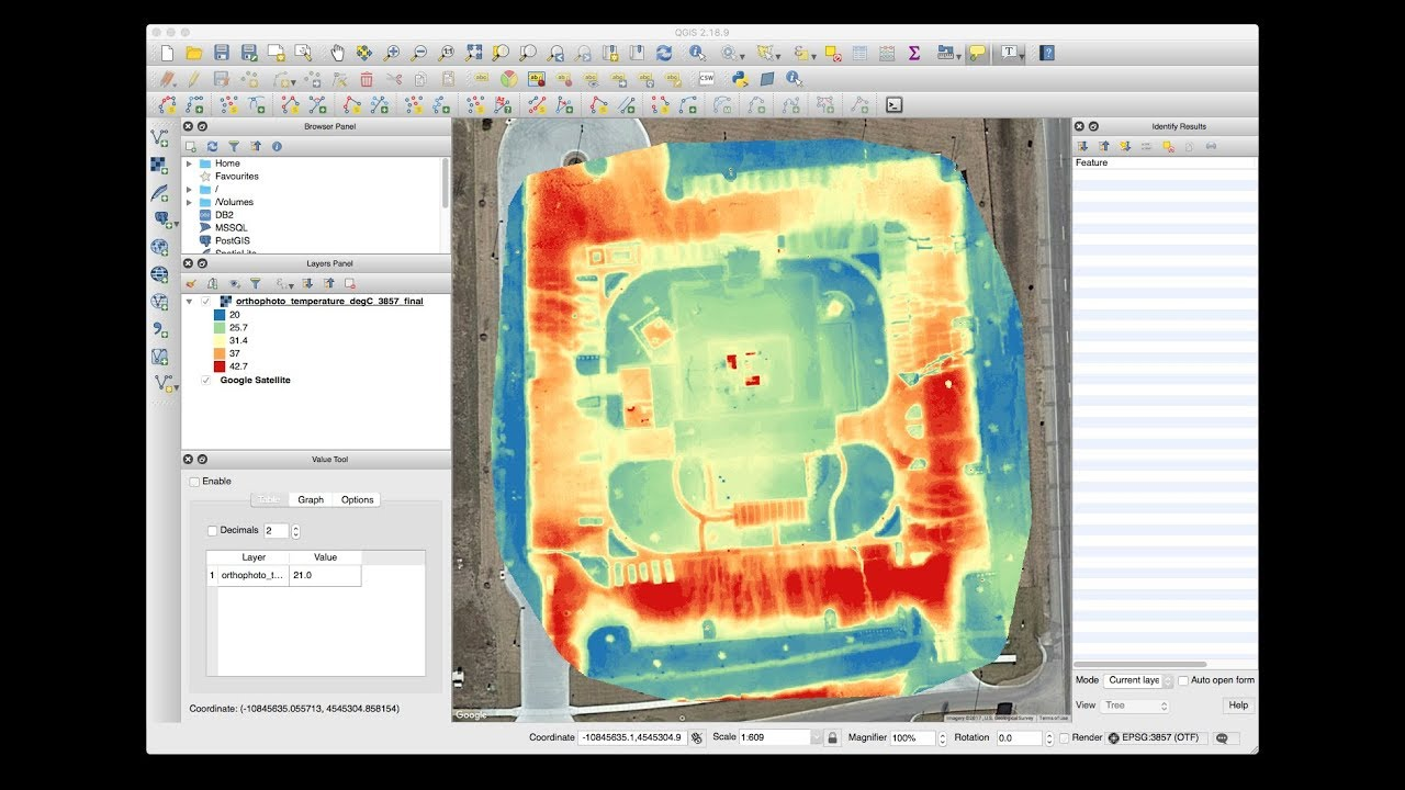 Loading a drone thermal map into QGIS