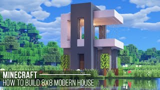 Minecraft : How to build 8x8 Modern House (#19)