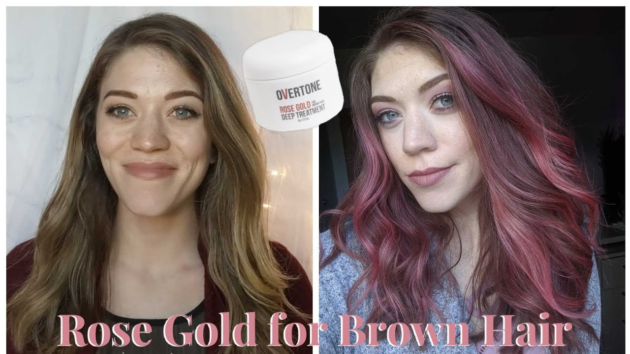 Overtone ROSE GOLD for Brown Hair Review and Demo - YouTube