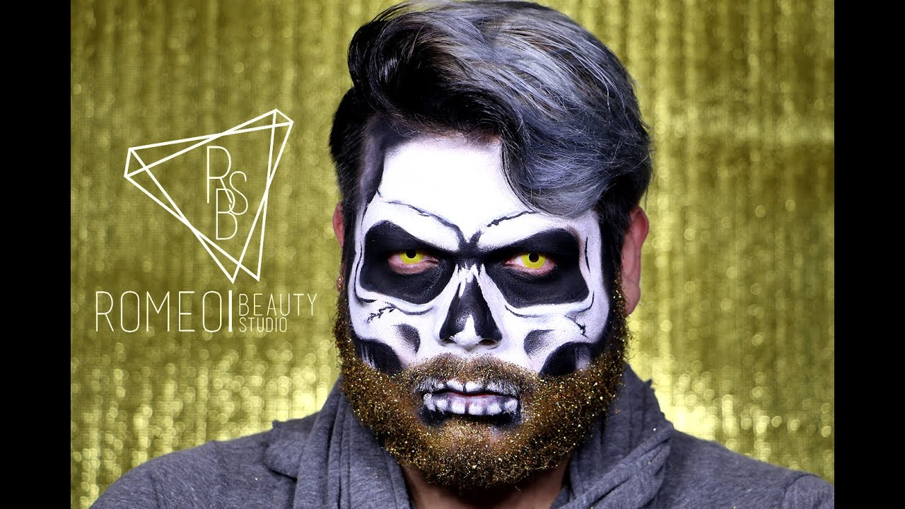 Glitter beard skull - YouTube