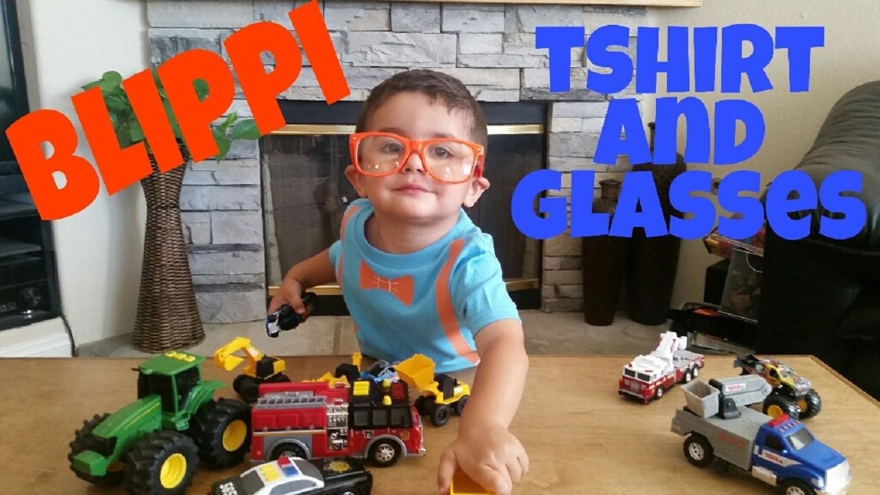 Blippi,  Toy Videos for Kids,  Blippi T-shirt and Glasses, Blippi Costume, Tractor, Blippi Toys,