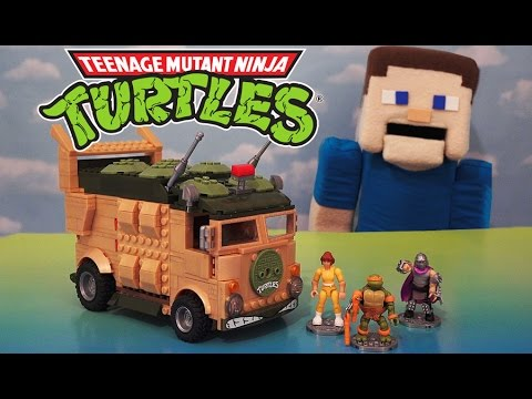 Teenage Mutant Ninja Turtles Mega Bloks Party Turtle Van Playset TMNT 1980's Unboxing Review
