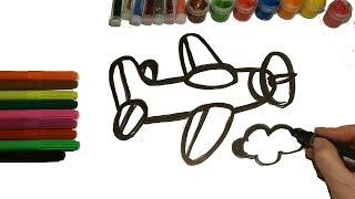 Glitter airplane draw with colors Как нарисовать самолет уроки рисования онлайн