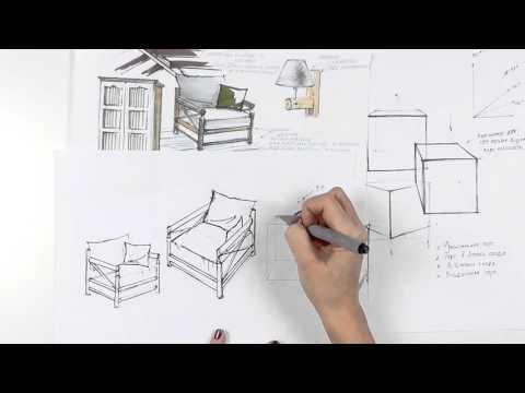 Интерьерный скетчинг. Стиль рустик: строим кресло на основе куба