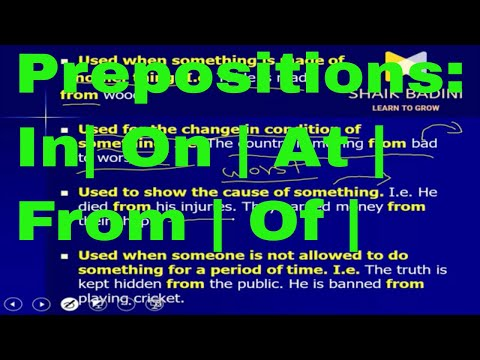 Prepositions || In | On | At | To |From | Of | Against | With | For | About