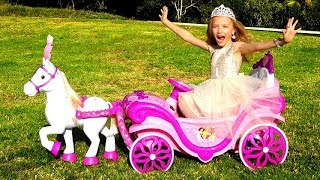 Polina playing with Princess carriage and MakeUp toys