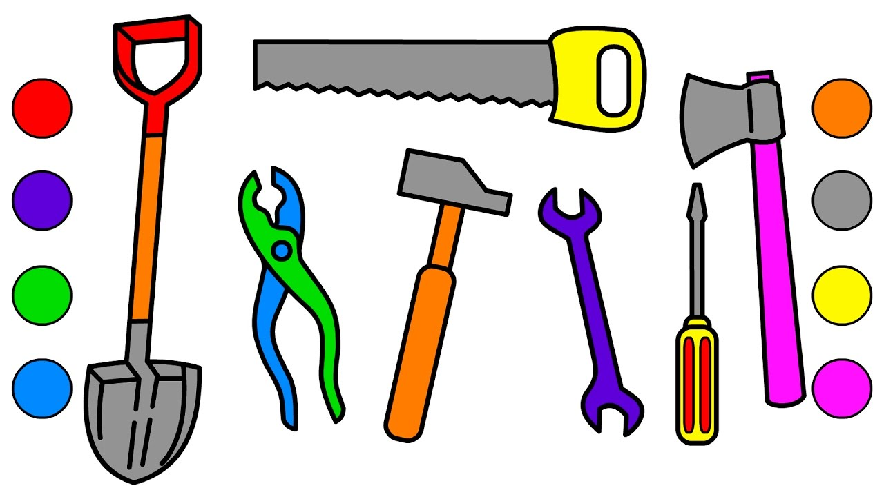 Learn Colors For Kids With Building Tools Coloring Pages