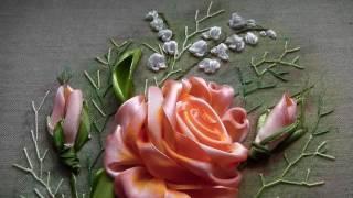 Вышивка лентами! Роза в подарок!