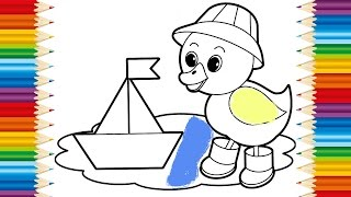DUCK Coloring page for KIDS and Learning How to Draw Duck and Sailboat - Videos for children