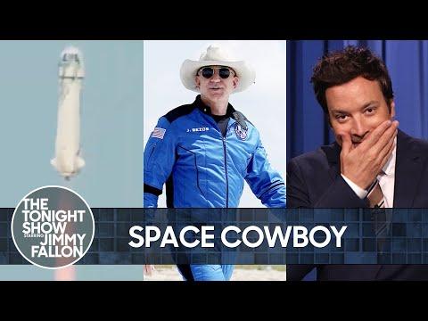 Jeff Bezos Wears Cowboy Hat to Space Aboard Phallic-Shaped Rocket | The Tonight Show