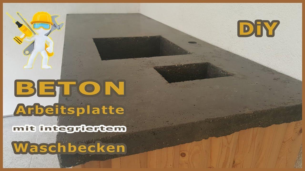 Betonplatte mit integriertem Waschbecken - Arbeitsplatte aus Beton -  Epoxidharz - Betontisch - NEU