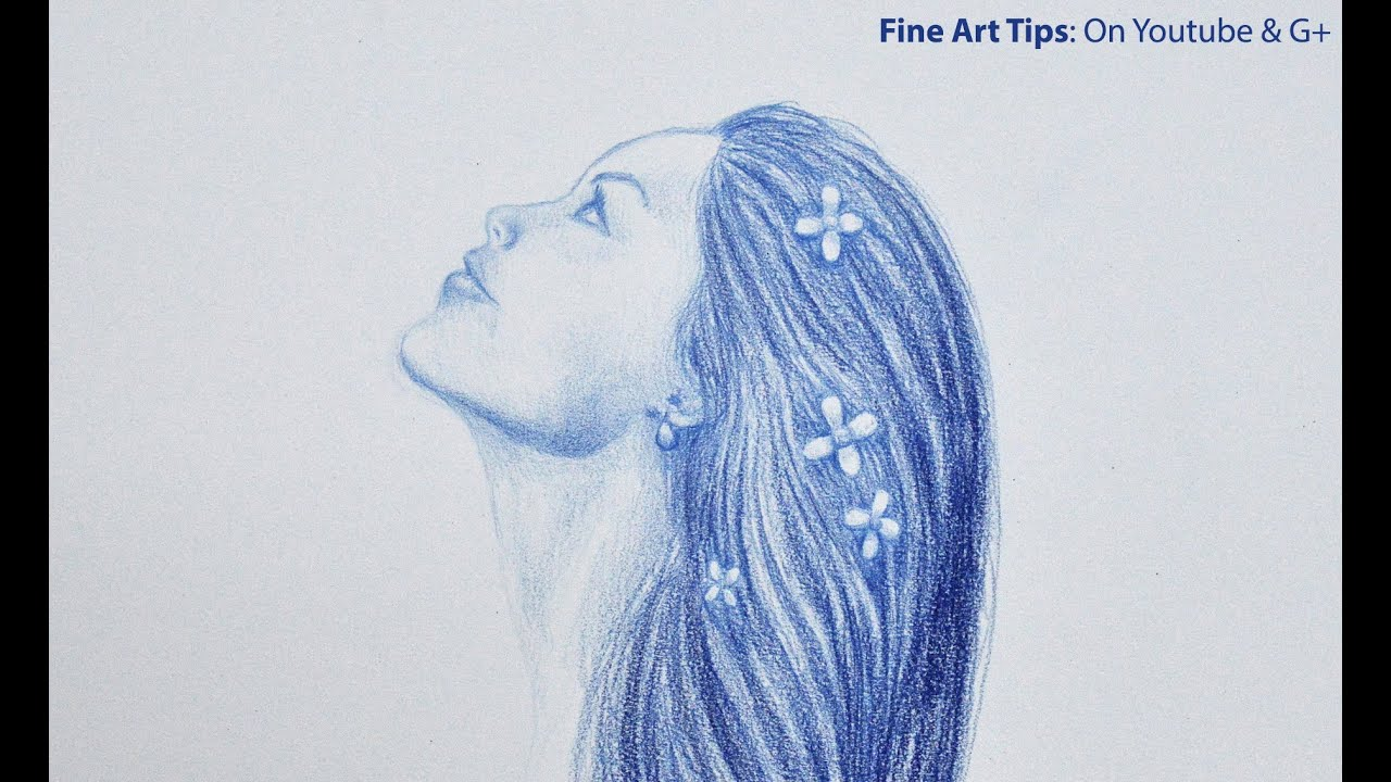 drawing a girl in profile time lapse youtube