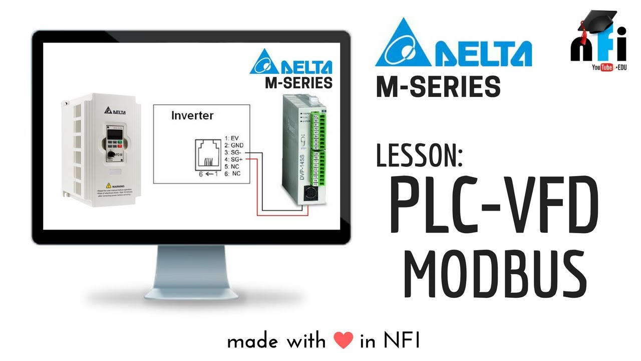 Plc Amp Vfd Modbus Communication Mode Youtube