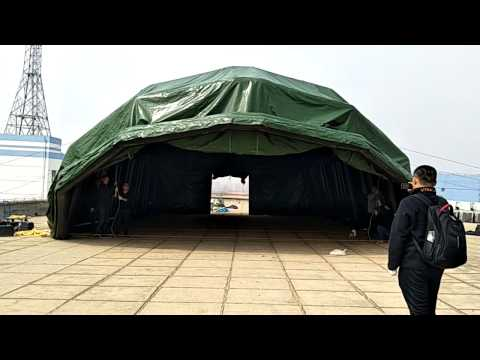 Easy setup military tent inflatable military camouflage tent automatic telescopic sliding door