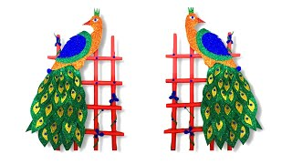 How to make peacock   Diy peacock wall decorations   peacock design   Glitter peacock