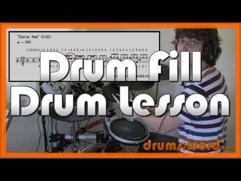 ★ Digital Man (Rush) ★ Drum Lesson   How To Play Drum Fill (Neil Peart)