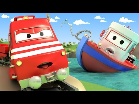 Thumbnail: Troy The TRAIN and Charlie Help Bobby the BOAT in Car City | Cars & Trucks cartoon for children