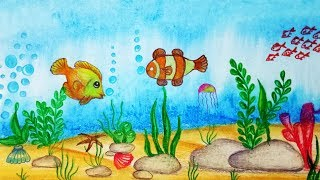 How to draw Underwater scenery. Step by step (easy draw)