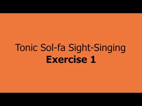 Tonic Sol-Fa Sight Singing Exer 1