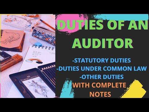 Duties of an Auditor I Duties of an Auditor of a Company
