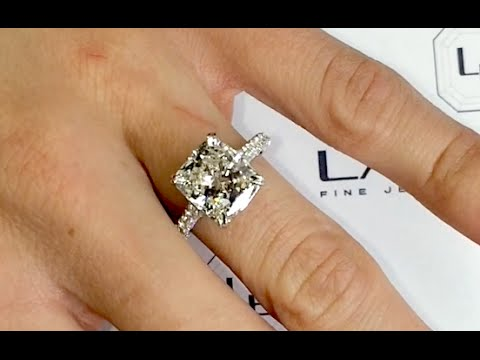 4 Carat Cushion Cut Diamond Engagement Ring
