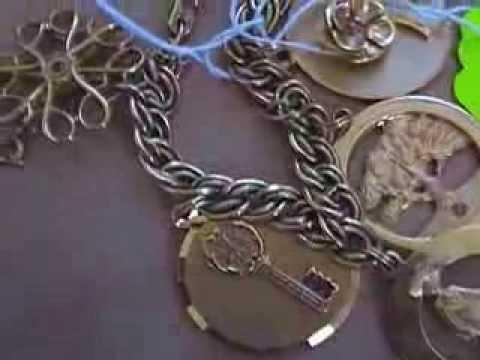 Vintage Gold Filled Avon Charm Bracelet Gold Sterling Economy Garage Sale Finds #42